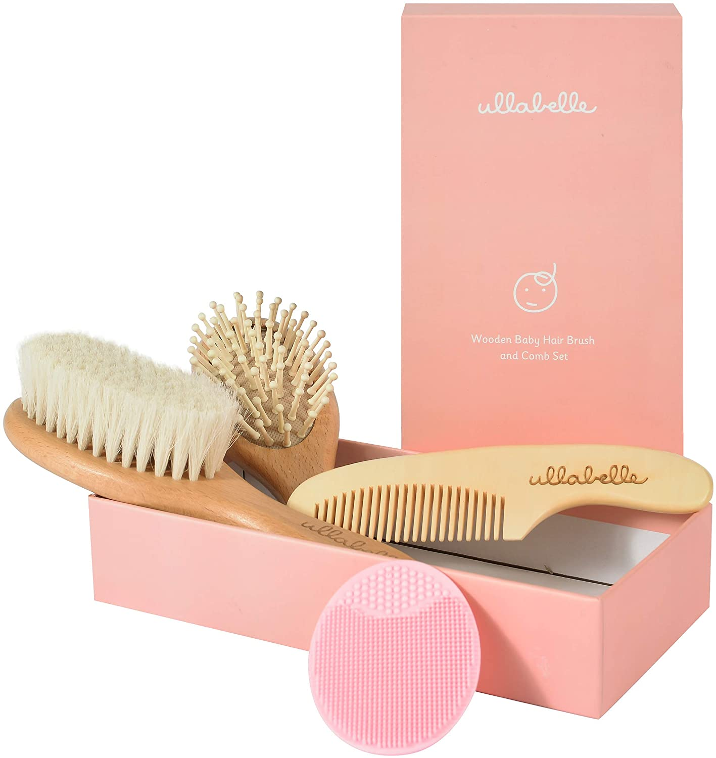 Ullabelle 4 Piece Wooden Best Baby Hair Brush and Comb Set for Newborns & Toddlers