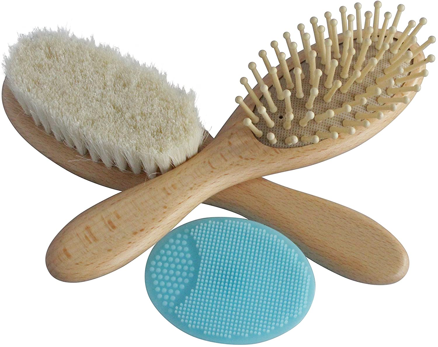 Wooden Best Baby Hair Brush Set with Natural Goat Hair Bristles