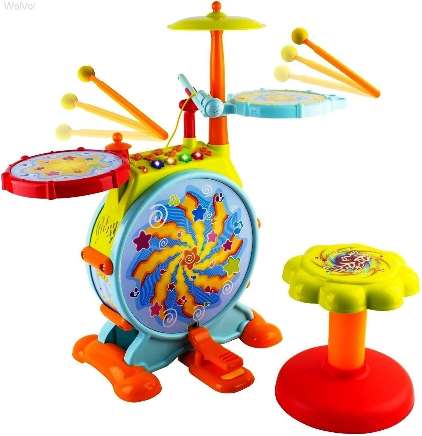 WolVol Electric Big Toy Best Toddler Drum Set for Kids