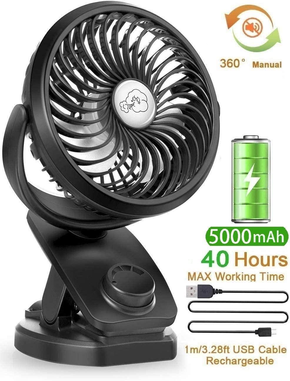 YXwin Best Stroller Fans Mini USB Desk Clip Fan